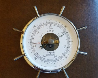 Vintage Airguide Barometer Compensated by Fee and Stemwedel Chrome Weather Station, Nautical Design, Ships Wheel, Sailing