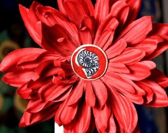 Ammonite Flower Hair Clip in Red