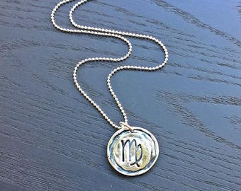 Silver Wax Seal Zodiac Sign Pendant, Virgo Pendant, Astrology Symbol, Monogram Wax Seal, Personalized Wax Pendant,Save the Date