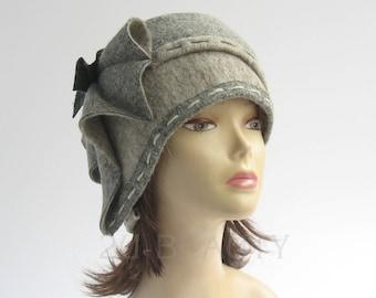 Wool hat Unique Gray felt wearable art OOAK cap felt style hat handmade russian style Winter Hats Slouchy beanie Special occasion hat art