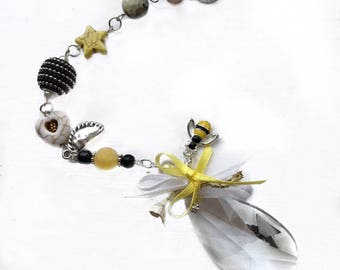 "Pittsburgh Gift, Rainbow Maker, One-of-a-Kind Gift, ""Black and Gold"" Bead Ornament, Save the Bees, Steelers, Penguins, Pirates"