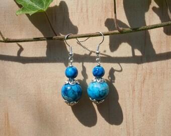 Dangle earrings - marbled blue glass bead