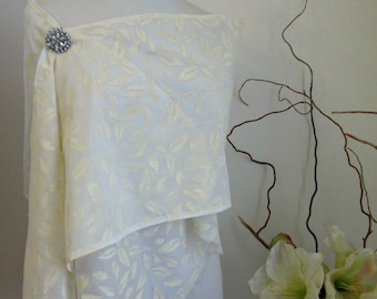 White Cotton Wrap - Leaf Design Hand Printed Stole - Bridal Shoulder Cover