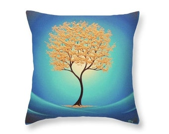 Gold Tree Pillow, Decorative Pillow, Gold and Blue Home Decor, Accent Pillow, Golden Tree Art Pillow, 16x16 Throw Pillow, Whimsical Art