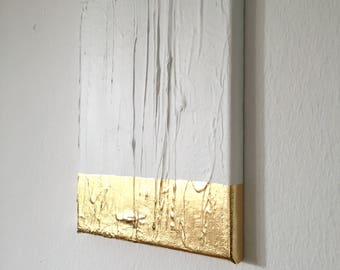 Modern contemporary gold white painting on canvas G18