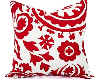 Two Red Pillows - Red Pillow Covers - Red Decorative Pillow - Red Pillow Sham - Red Pillowcase - Red Suzani Pillow Covers - Red White Pillow