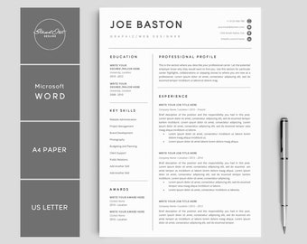 """Resume Template   Modern & Professional Resume Template for Word   CV Resume + Cover Letter   5 Page Pack   Instant Download Resume   """"JOE"""""""