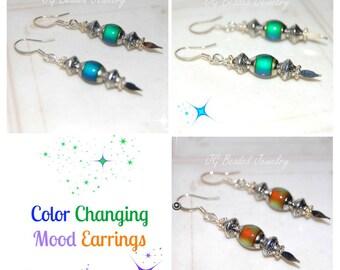 Color Changing Mood Earrings, Mood Jewelry, Beaded Mood Earrings, UNIQUE