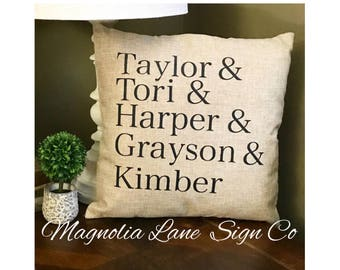 Custom pillow case, personalized pillow cover, family names pillow, personalized pillow, Mother's Day gift
