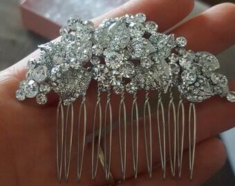 Bridal Hair Comb,Crystal Rhinestone Leaf Hair Clip,Wedding Hair Piece,Bridal Headpiece,Silver Vine Hairpiece,Wedding Hair Comb,Bridal comb