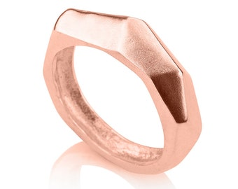 14K Rose Gold Faceted Ring , Geometric Gold Ring, Statment Ring , Asymmetrical Ring , Facet ring