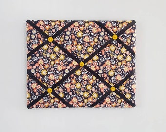 Retro Flower Fabric Ribbon Board - Black Vision Board - Yellow Flower French Memo Board - Orange Flower Bulletin Board - Black Pin Board