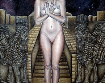 Limited Art Print Anunnaki Goddess Girl by Temple Celestial Sky Fantasy A3 size