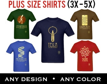 Plus Size Science T-shirts, Rock Star Scientist Geek Shirts in 3X 4X and 5X, Big & Tall Clothing Teacher or Student Educational Science Gift
