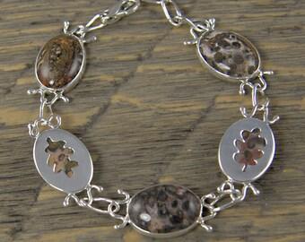 Silver Oak Leaf Bracelet with Leopard Skin Jasper, Handmade Sterling Silver Oak Leaf Link Bracelet, OOAK, Reversible  Bracelet