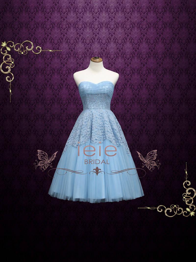 Retro 50s Blue Tea Length Prom Dress Homecoming Dress Sweet