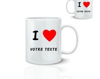 Mug love text - ceramic mug 325 ml