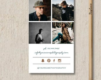 SALE! Vertical Business Card Template for Photographers - Printable Business Card Design - Digital Photoshop Templates