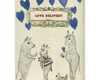 3 Art Cards of Love Delivery Donkey, Goats and Pig