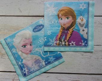 2 napkins frozen Elsa, Anna, Olaf