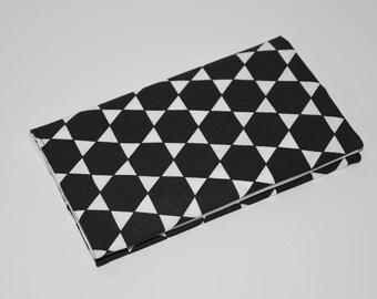 Checkbook holder in fabric - pattern * diamond * - black and white tones - gift idea / 00471