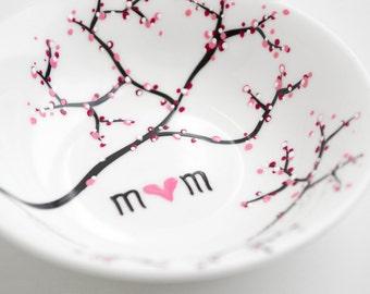 Plat de bijoux de branche de fleur de cerisier - personnalisé bijoux bol, des mères, anneau plat, annulaire, livraison gratuite, Best Seller