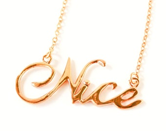 Nice handwriting 10k gold plated necklace