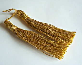 2 Vintage Gold Metallic Thread Tassels Tassel