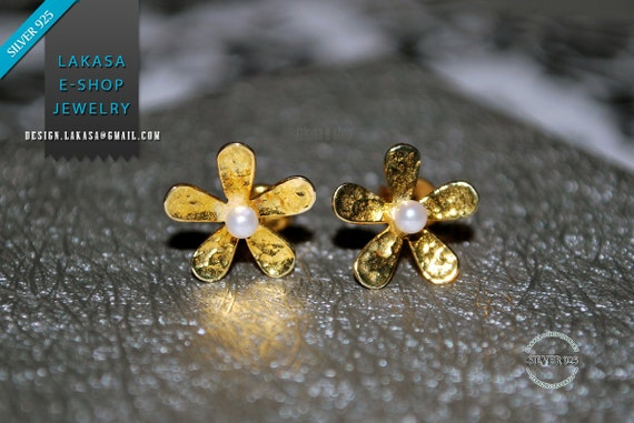 Flowers Pearls Studs Earrings Sterling Silver 925 Gold-plated Handmade Jewelry Woman Best Ideas Gift Anniversary Birthday Floral Design Moda