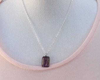 Dichroitische Glas Anhänger gold Anhänger, lila Anhänger, kleines Glas Anhänger, schöne Anhänger, Glas Anhänger, dichroitischen Halskette,