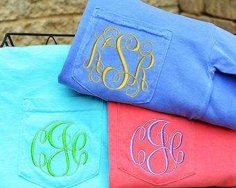 Comfort Colors Long Sleeve Pocket T-Shirt, Monogram Pocket Long Sleeve T Shirt, Personalized Long Sleeve T-Shirt, Monogrammed Pocket T Shirt