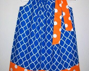 Florida Gators Pillowcase Dress Quatrefoil dress Royal Blue and Orange Dots SHSU Game Day baby dress toddler dress girls dress Kids Clothes