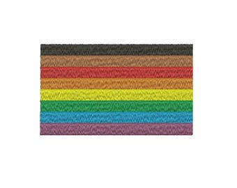 Machine Embroidery Design Instant Download - LGTB Gay Lesbian Queer People of Color Pride Rainbow Flag