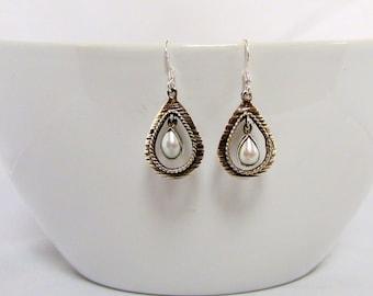Sterling Silver White Pearl Dangle Earrings