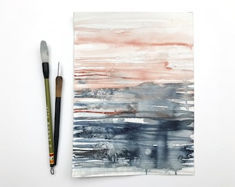 original watercolor painting - abstract - indigo and copper