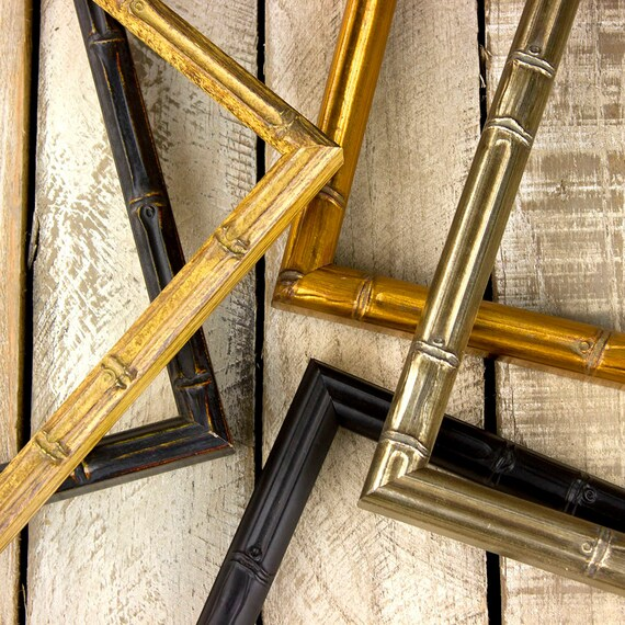 Bamboo Picture Frame - Gold Bamboo- Black Bamboo- Aged Black ...