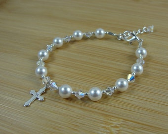 First Holy Communion Bracelet, Girls, Swarovski Pearl and Crystal,Sterling Silver Cross, Free Shipping