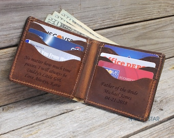 Personalized Leather Wallet, Mens Leather wallet, Personalized Mens wallet, Gifts for Men, Father of the bride gift, Father Daughter gift