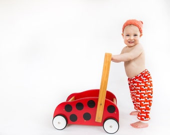 baby pants girl unisex newborn gift boy / dachshund dog boho pants / eco friendly organic cotton knit jersey red / Scandi design / 0-12 mths