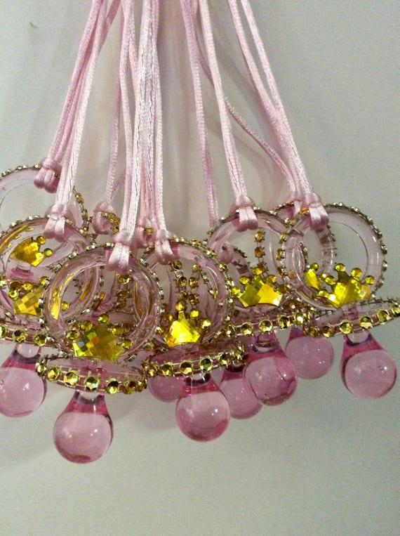 Princess Crown Baby Shower Pacifier/princess Crown Baby Shower Party  Necklace/princess Crown Baby