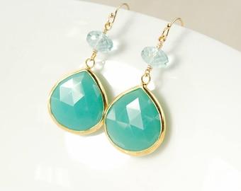 Gold Mint Green Chrysoprase Teardrop Earrings - Wide Teardrops - Aqua Blue Quartz, Drop Earrings