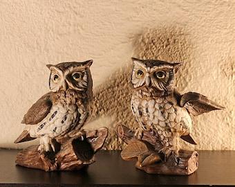 Pair of Homco Ceramic Owl Figurines