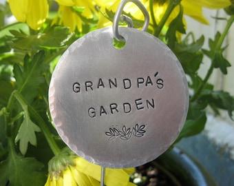"""Extra Large hand stamped garden / herb marker .. 2"""" round"""