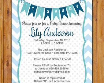 Blue Baby Shower Invitation Chevron Pennant Bunting Invite It's a Boy Baby Shower Invitation 5x7 Digital JPG (492)