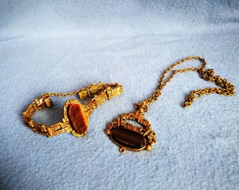 Vintage Retro Finnish Jewelry, Finland Bronze Pendant, Finish Metal Brass Necklace and Bracelet, Scandinavian Design
