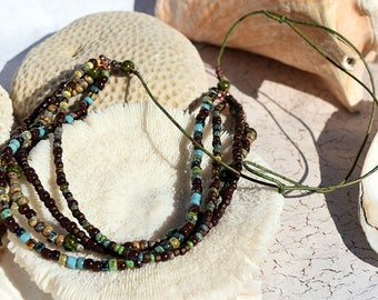 Multi Strand, Picasso Seed, Bead Necklace, Multiple strands, Seed Bead, Necklace, Jewelry, Jewellry, Leather Jewelry, Vintage,African Trade