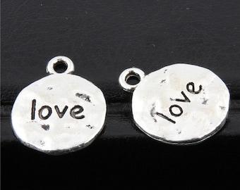 30pcs Antique Silver Love Letter Charms Pendant A2667
