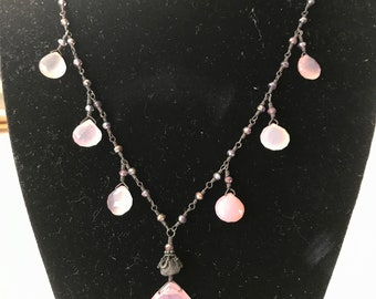 Rose chalcedony tier drop necklace