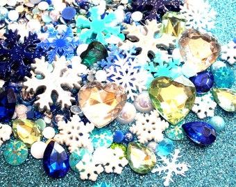50g Ice Blue Rhinestones 3D Gems & Pearls Snowflake Frozen Decoden DIY Decoden