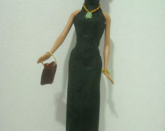 Barbie Asian Cheongsam Gown and Accessories